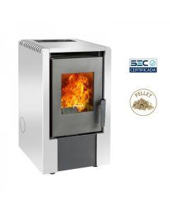 Calefact Pellet Amesti Italy 6100 Blanca 70-118 M2